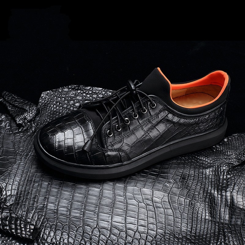 Luxury Crocodile Leather Sneakers Winter Genuine Leather Casual Shoes Men Lace Up Office Round Toe Flat Shoes Black Trainers