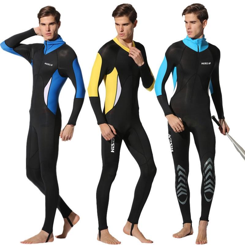 Hisea 0.5mm Men Lycra Scuba Dive Skins Snorkeling Water Sports Wet Jumpsuit Swimwear Wetsuit Rash Guards swimwear one piece