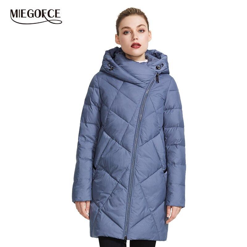 Miegofce 2019 coleção feminina inverno casaco de jaqueta quente várias cores incomuns curva zíper dá modelo um estilo especial