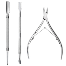 3Pcs/set Nail Art Nipper Cutter Cuticle Spoon Pusher Dead Skin Remover Fork Nail Files Trimmer Scissors Manicure Care Tools недорого