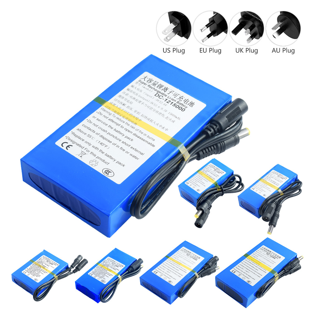 Rechargeable 12 V Lithium Ion Battery Pack With Bms US Plug Li Ion Battery Charger Power Supply 4800-20000mAh For Cameras MP3