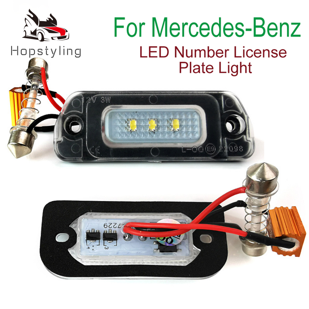 2Pcs LED License Plate Light For Mercedes-Benz AMG W163 W164 X164 W251 GL R ML 230 270 280 300 320 350 400 450 500 550 55 63 AMG image
