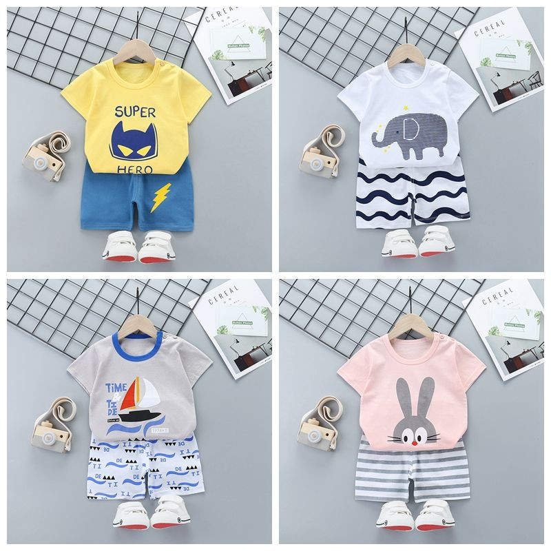 Baby Boy Clothing Set Children Summer Clothes Infant Girls Tops+shorts Suit Kids Short Sleeve T-shirt Outfit For Toddler Child