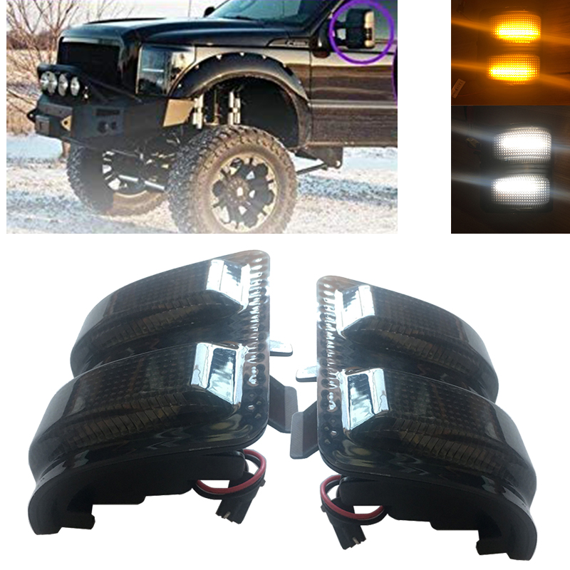 2Pcs Led Side Mirrors Marker Lamps Auto Exterior Mirrors Fit For 2008-2016 Ford F250/F350/F450/F550 Super Duty - Left & Right