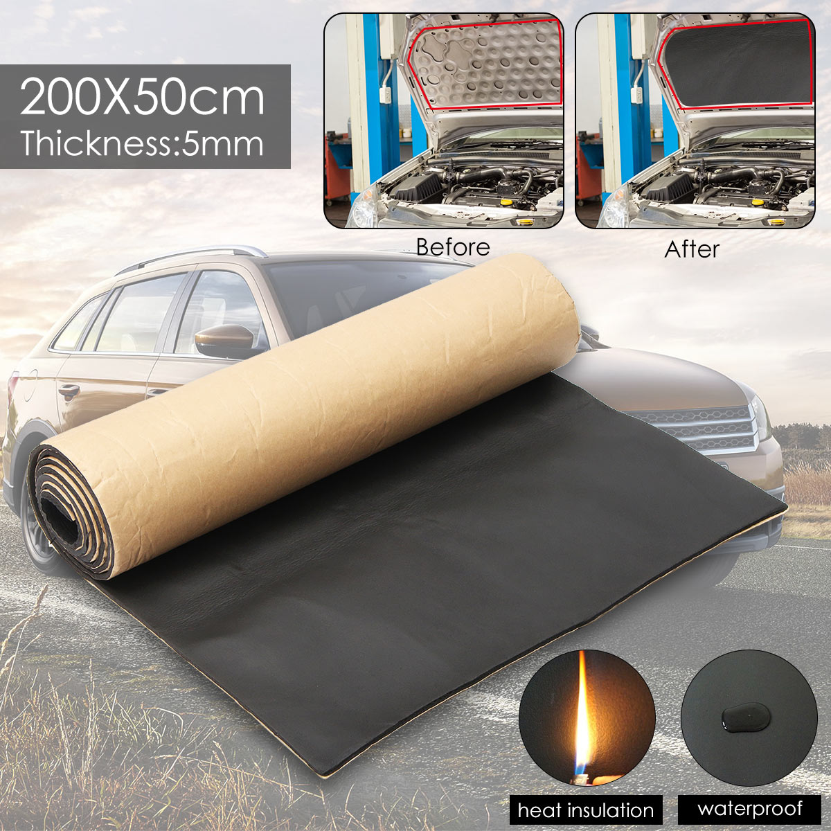 1Roll 200cmx50cm 5mm Car Sound Proofing Deadening Truck Anti-noise Sound Insulation Cotton Heat Closed Cell Foam Self Adhesive