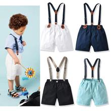 Boys Shorts Cotton Summer Shorts For Baby Boy Overalls White Black Gentleman Toddler Shorts Pants Casual Kids Dungarees