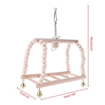 Pet Bird Swing Bridge Natural Wood Parrot Parakeet Hanging Cage Beads Bell Funny Climb Ladder Pendant Hamster Rat Stand Perch 5