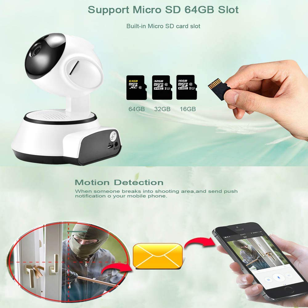 Motion Detection Built-In Microphone Micro Sd Card Slot Wireless Camera Wifi Network Mobile Phone Remote Home Hd Night Vision Indoor And Outdoor Monitor With Infrared Night Vision 1080p