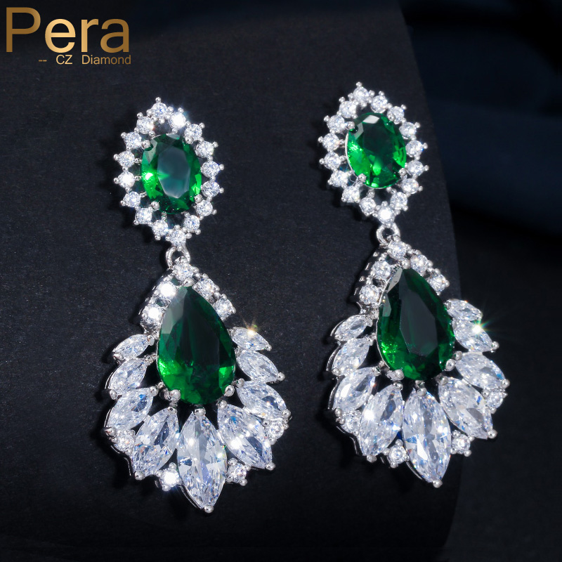 Pera Luxury Silver Color Jewelry Green Long Chandelier Cubic Zirconia Crystal Bridal Wedding Big Drop Earrings For Women E001