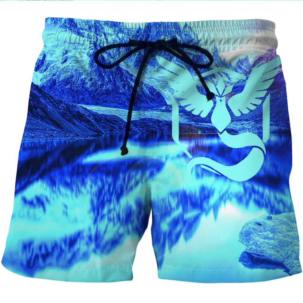 New European And American Men's Fast-drying Short Shoes With 3D Creative Printing And Leisure Shorts With Two Side Pockets
