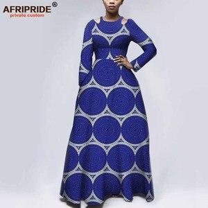 Image 3 - Afripride robes dimpression africaine pour les femmes sur mesure manches complètes longueur de plancher femmes ajustement et flare robe déglise A1925050