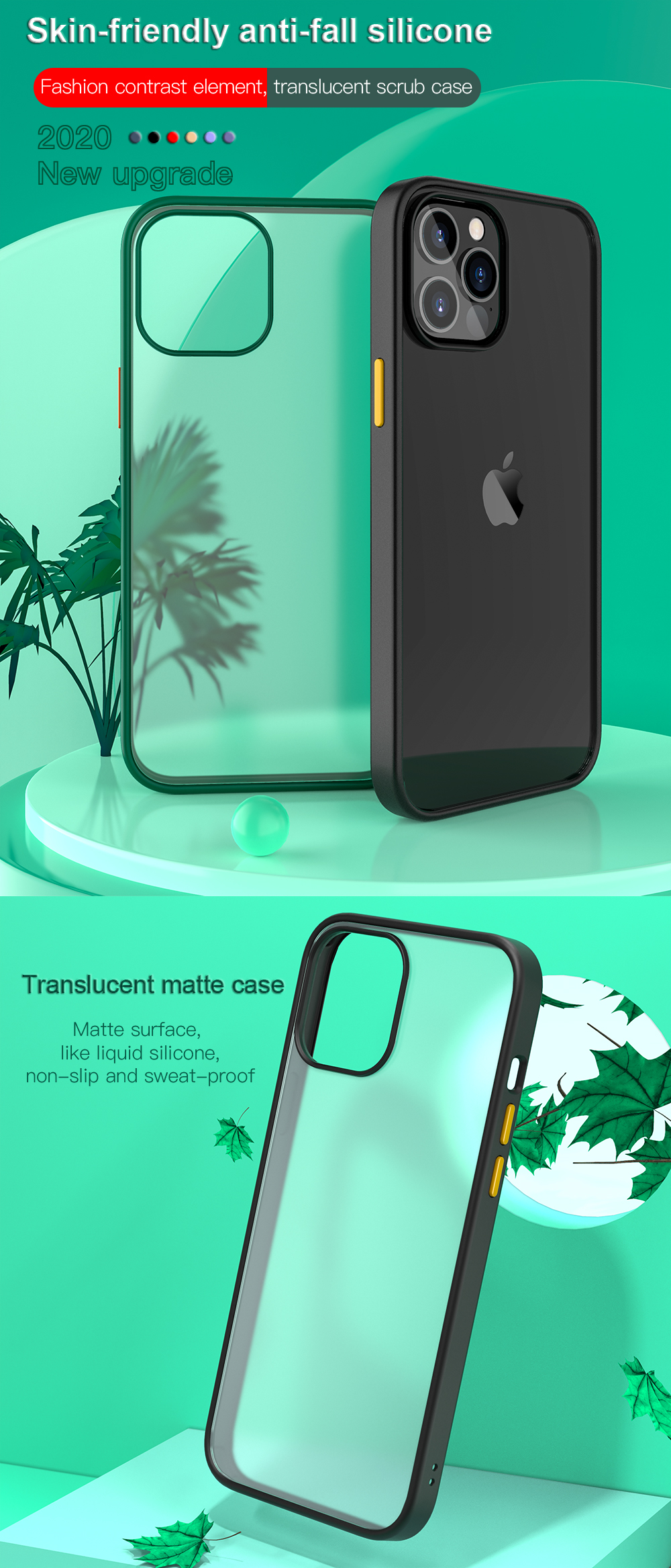 New Fashion Transparent Shockproof Matte Clear Case for iPhone 12 Pro Max