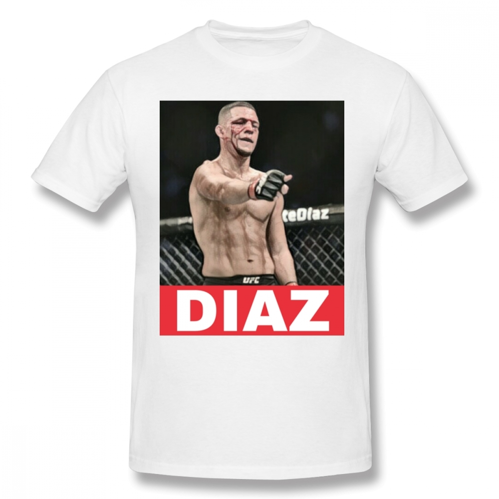 Awesome  MMA Fighter Nate Diaz T Shirt Men Crewneck Graphic Print Camiseta Big Size T-shirt Guys Punk Designer Streetwear