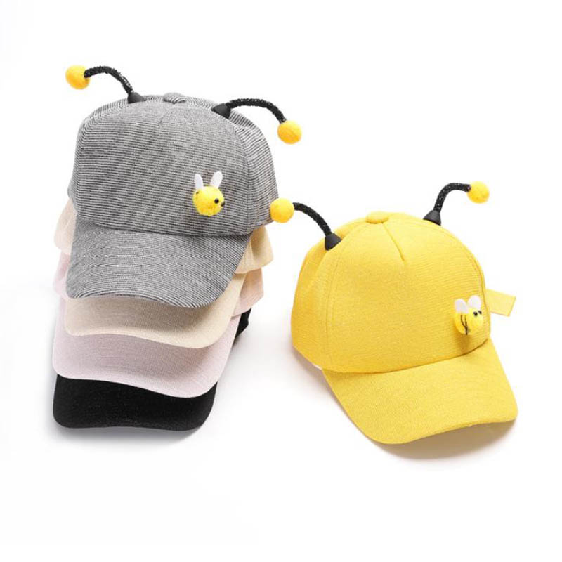 Doitbest 2 to 7 Years old Spring Children   Baseball     Cap   Boy Girls 3D Little bee Snapback adjustable Kid Hip Hop Hat Sun   cap