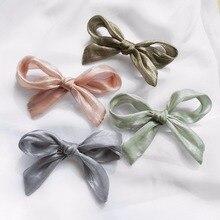 Однотонные заколки для волос с кружевным бантом, розовая пряжа, заколки для волос с большим бантом, аксессуары для волос, модные ленты, закол...