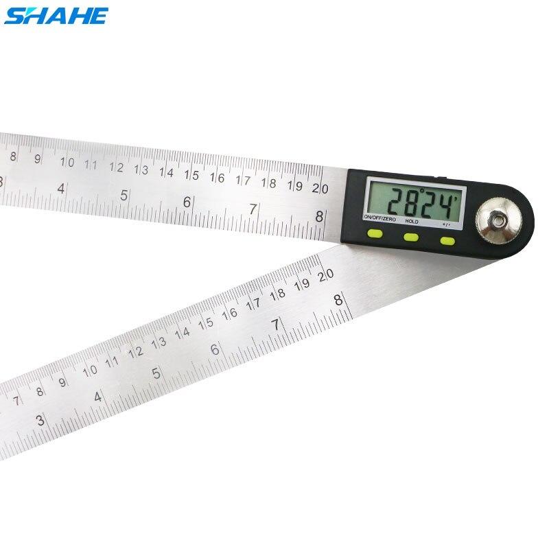 Medidor de ângulo 2-em-1 do goniômetro de digitas do transferidor de digitas da régua 200 mm do localizador do ângulo com lâminas de aço inoxidável