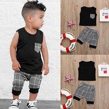 Boy Clothes Summer New Baby Boy Suit Vest Shorts Clothing Sets Gray Plaid 2 Pcs