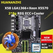 HUANANZHI X58 motherboard CPU RAM combo discount X58 LGA1366 motherboard with Xeon CPU X5570 with cooler RAM 16G(2*8G) REG ECC