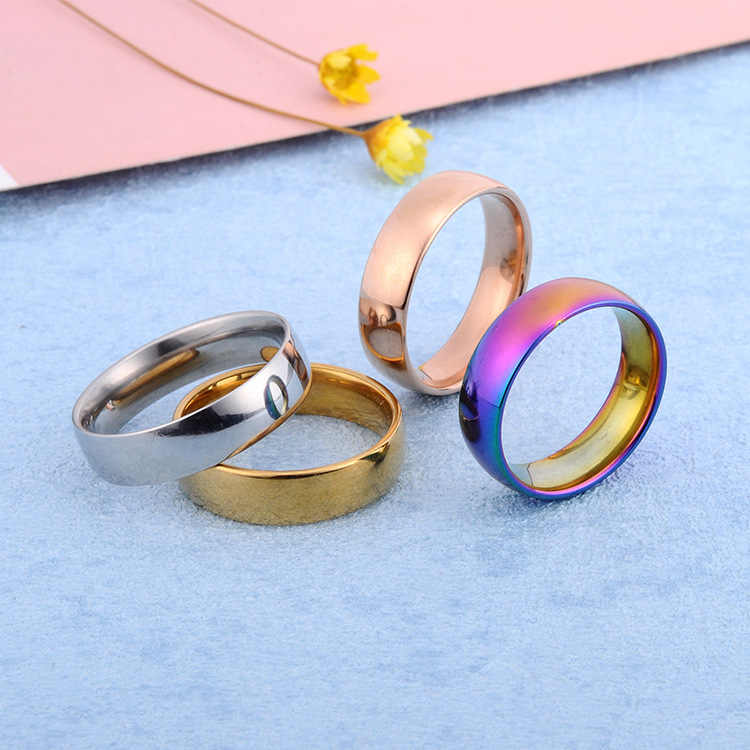 ใหม่สีแหวนผู้หญิงแหวนสแตนเลสผู้ชายเครื่องประดับ Rose Gold แหวนสำหรับแหวนเงินผู้หญิงสำหรับชายของขวัญ