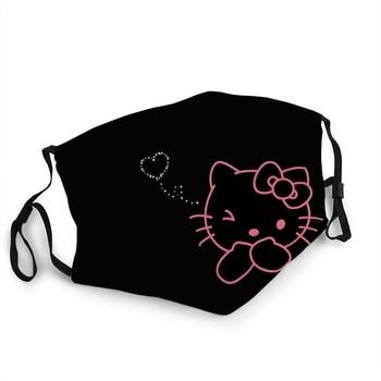 PM2.5 Belt Filter Washable Reusable Black Mask  Hello Kitty Princess Toys Mascaras For Kids Hello Kitty Sticker Backpack недорого