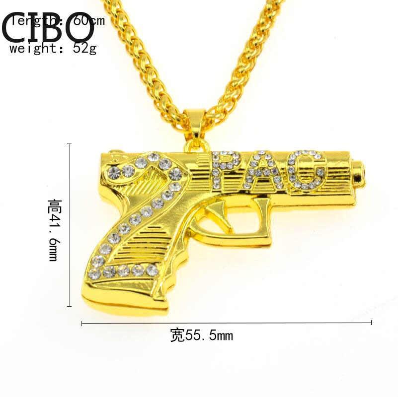 2019 Nova Hip Hop Iced SteelGun Inoxidável 2PAC pistola Colares Pingentes de Ouro Cor de Strass Colar