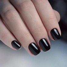 24 шт блестящие черные короткие накладные ногти для дизайна
