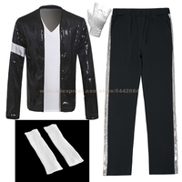 MJ Michael Jackson Billie Jean Suit Outfit Black Armband Jacket Pants Socks Glove Outwear Costume Party Cosplay Prop Collection