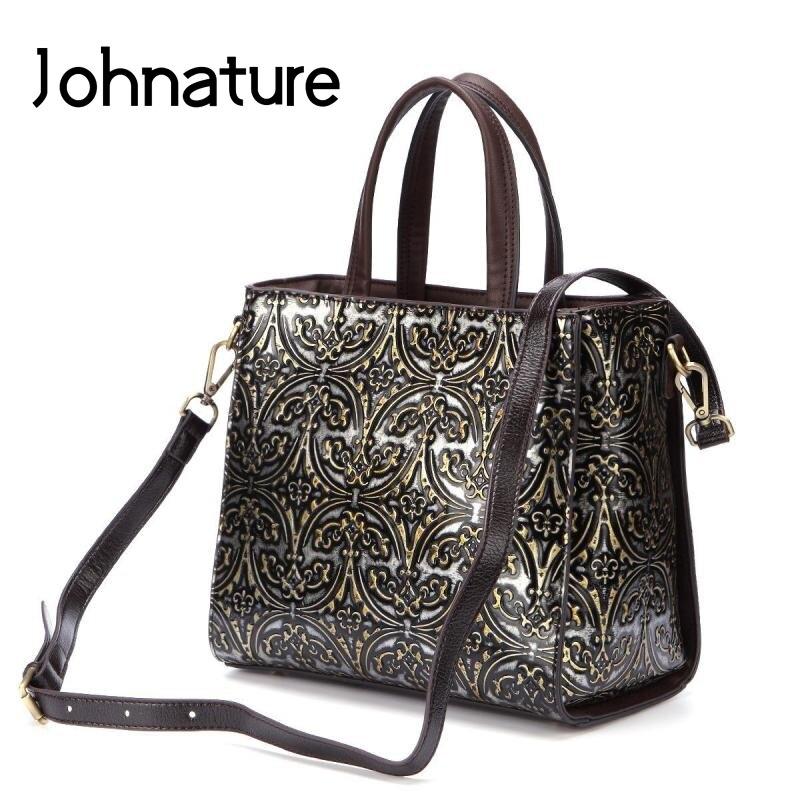 Johnature Vintage Women Luxury Handbags 2020 New Genuine Leather Handmade Embossing Messenger Bag Leisure Cowhide Shoulder Bags