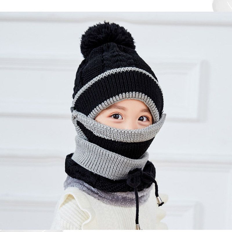 3-10yrs Thick Fleece Lining Winter Kids Hat Scarf Set Warm Knit Beanie Scarf Balaclava For Boys Girls