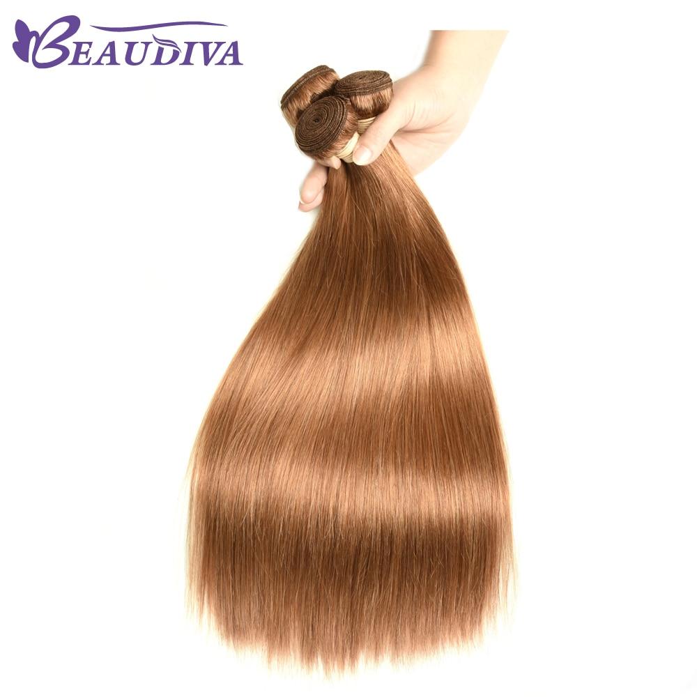 BEAUDIVA  Straight  1/3Bundles Middle Brown 4 27 30 Color  3 Bundles Hair  s 2