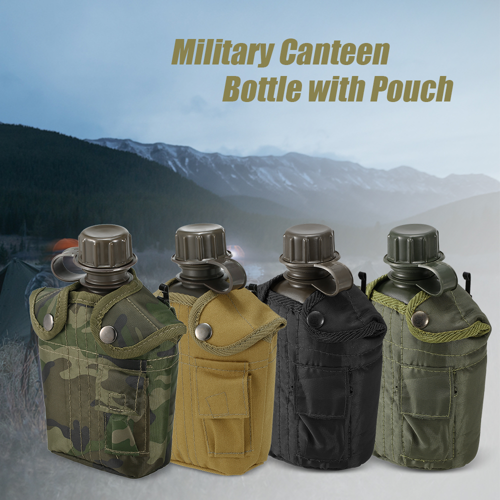 Outdoor Military Canteen Bottle Camping Hiking Backpacking Survival Water Bottle Kettle with Cover