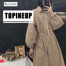 2019 Korean Style Fashion Retro Long-sleeved Windbreaker  Mid-length Waist Women Casual Trench Coat Vintage Elegant Warm Coats
