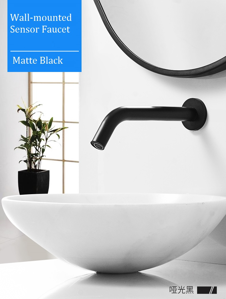 mttuzk matte black brass wall mounted automatic sensor faucet bathroom wash basin touchless infrared faucet hot cold water tap