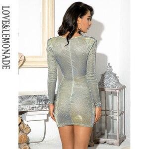 Image 5 - LOVE & LEMONADE Mini robe Sexy avec boucle en métal, tenue Sexy, col en v, épaules, tenue de fête réfléchissante, LM81989 1