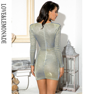 Image 5 - LOVE & LEMONADE minivestido Sexy con escote en V, hombros descubiertos, hebilla de Metal, Bodycon, reflectante para fiesta, LM81989 1