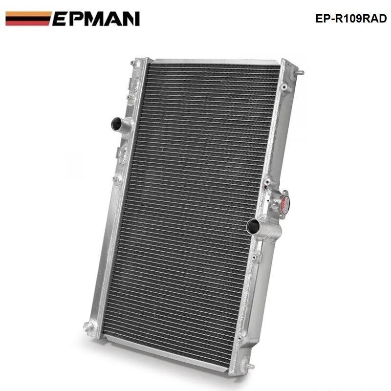 Radiador de rendimiento de refrigeración de carrera de aleación de aluminio de 2 hileras de 42MM para Mitsubishi Lancer EVO 7 8 9 2001-2007MT EP-R109RAD