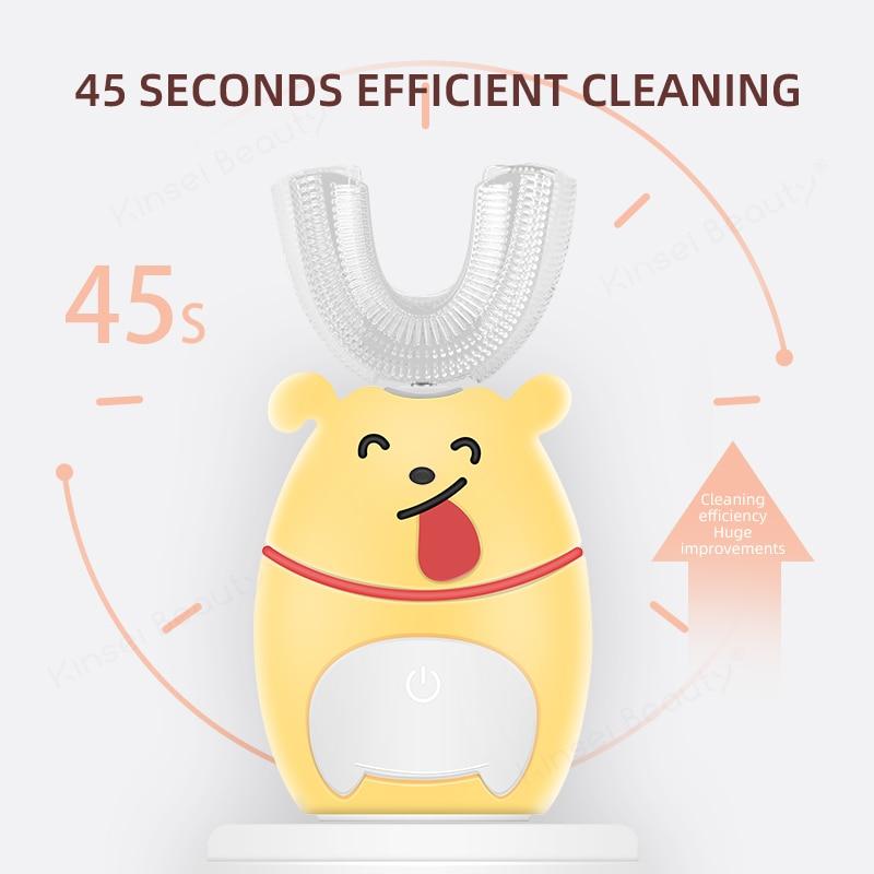 Smart U Electric Toothbrush Kids 360 Degrees Ultrasonic Automatic Teethbrush Cartoon Pattern Children Sonic Silicon Tooth Brush