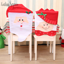 Christmas Chair Covers Santa Red Hat Decoration Dinner Xmas Cap Backrest Coating New Year Home