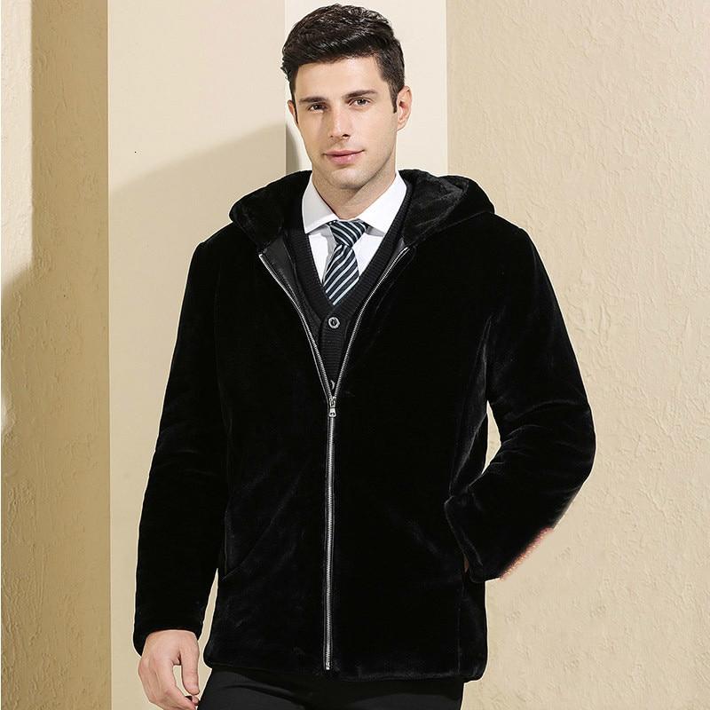 2019 New Men's Mink Fur Coat Plus Velvet Thick Imitation Sheep Shearing Woolen Jacket Winter Coat Men Hooded Overcoat Erkek Mont