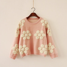 autumn and winter new womens dress, sweet, three-dimensional flower, loose insert, thick sweater, sweater women