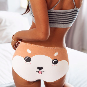 VDOGRIR Sexy Women Cotton Briefs Cartoon Cute Underwear Women's Soft Seamless Panties Lady Print Panty Low Rise Underpants Tanga(China)
