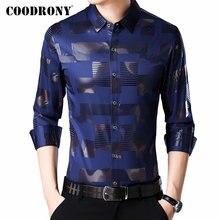 COODRONY marka erkek gömlek uzun kollu pamuklu gömlek erkek sonbahar elbise erkek Casual gömlek Streetwear moda Camisa Masculina 96068