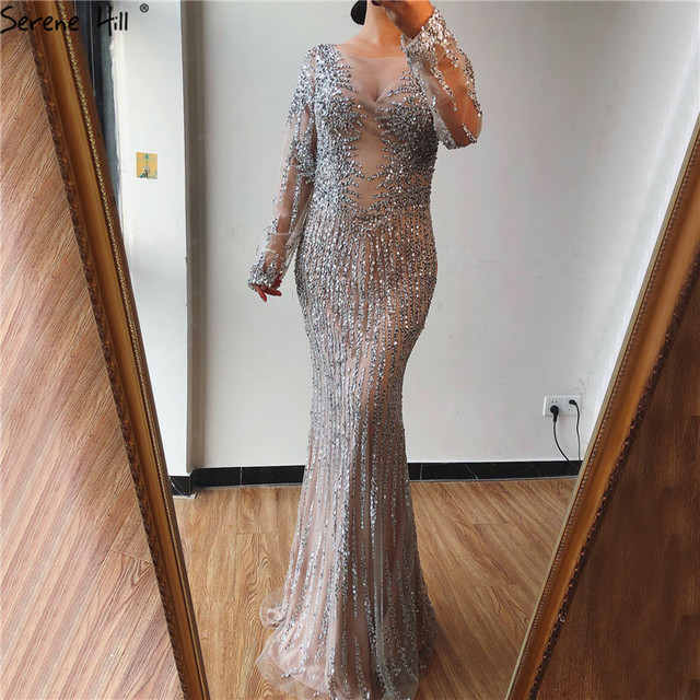 Dubai Silver O Neck Mermaid Evening Dresses Design 2020 Luxury Long Sleeves Sequins Beading Evening Gown LA70249