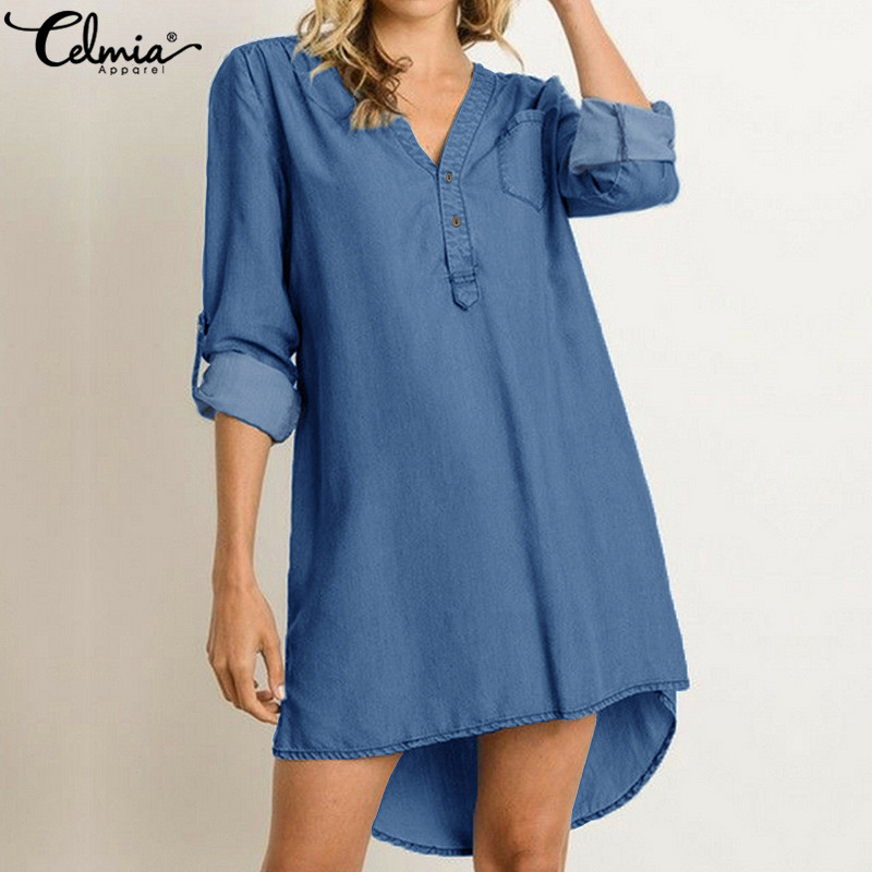 Celmia Women Denim Shirt Dress 2020 Summer Sundress Casual Irregular V Neck Mini Dresses Loose Tunic Tops Vestidos Mujer S-5XL