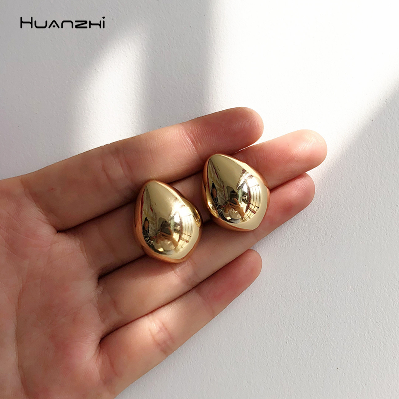 HUANZHI 2019 New Geometric Water Droplets Smooth Simple Retro Metal Stud Earring for Woman Girls Party Holiday Accessories