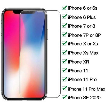 Tempered Glass for iphone 7 8 6 6s Plus X XR XS Max iphone 11 pro Max Glass Screen Protector On iphone 7 6 8 SE Protective Glass 1