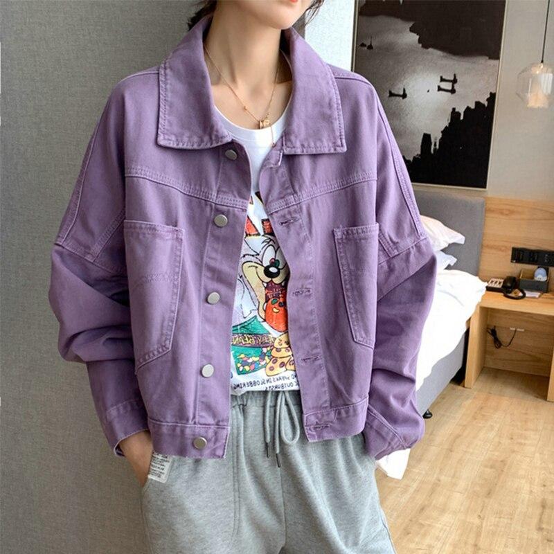 Solid Turn-down Collar Jean Jacket For Women Loose Casual Purple Fashion  Coats Korean Style Female  Denim Short Top Feminine