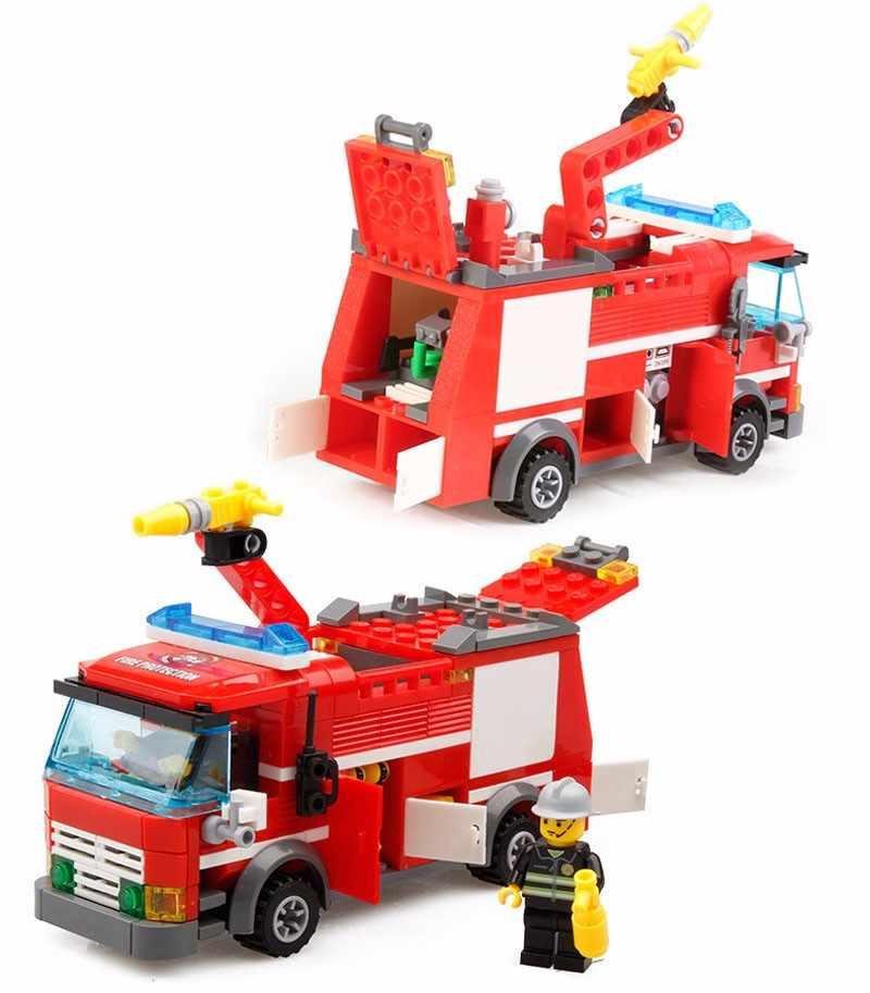 206 قطعة Legoings سيارة إطفاء نموذج لتقوم بها بنفسك اللبنات عدة لعب للأطفال التعليم المبكر لعبة Brinquedos هدية