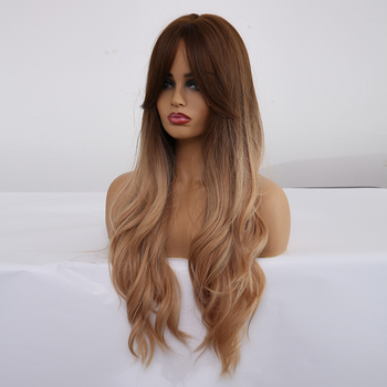 ALAN EATON Ombre Wavy Wigs Black Brown Blonde Middle Part Cosplay Synthetic Wigs with Bangs For Women Long Hair Wigs Fake Hair 1
