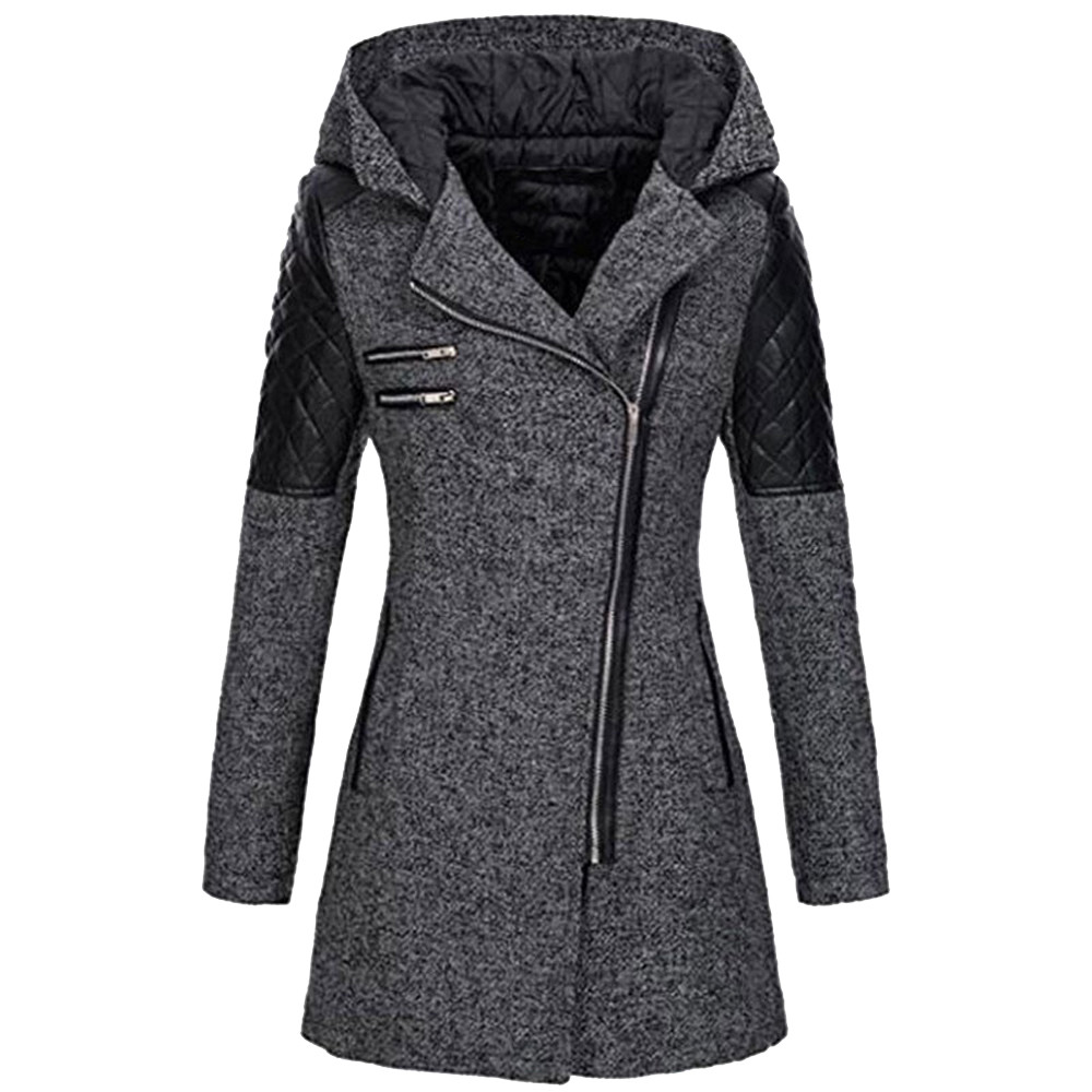 ISHOWTIENDA Fashion Winter Jacket Women Warm Slim Jacket Hooded Zipper Coat Thick Splice Overcoat Outwear Gh4